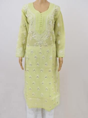 Green & White Gala Boti Gota Patti Lucknowi Chikankari Party Wear Cotton Kurti - Front Full