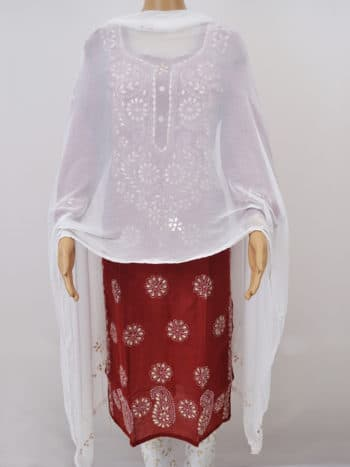 White Crosia With Gota Work Lucknowi Chikankari Party Wear Chiffon Dupatta - Full Front