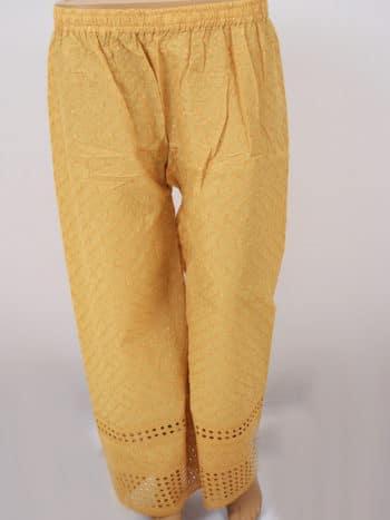 Women Chikankaari Embroidered Beige Straight Palazzo - Front Full