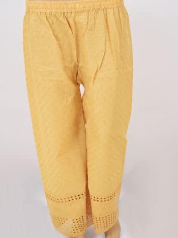 Beige Hakoba Embroidery Lucknowi Chikankari Casual Cotton Palazzo - Full Front