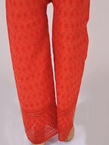 Red Hakoba Embroidery Lucknowi Chikankari Casual Cotton Palazzo - Full Low