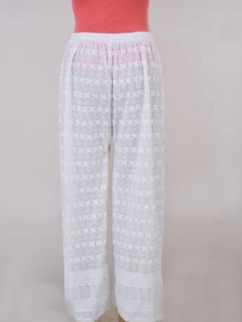 Women Chikankaari Embroidered White Straight Palazzo - Back Full