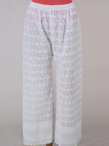 Women Chikankaari Embroidered White Straight Palazzo - Front Full
