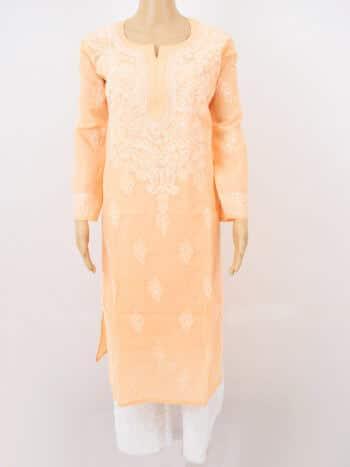 Orange & White Gala Boti Lucknowi Chikankari Casual Cotton Kurti - Full Front