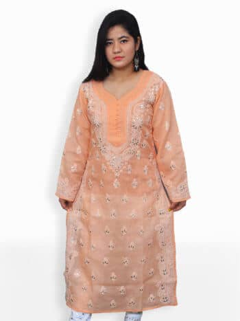 Peach & White Gala Boti Gota Lucknowi Chikankari Party Wear Cotton Kurti - Front