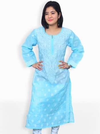 Sky Blue & White Gala Boti Lucknowi Chikankari Casual Cotton Kurti- Front