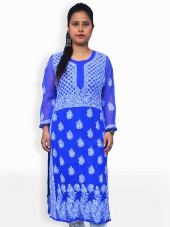Blue & White Gala Daman Lucknowi Chikankari Casual Georgette Kurti - Front