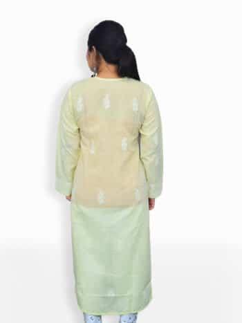 Women Light Yellow And White Chikankaari Embroidery Cotton Kurta - Back