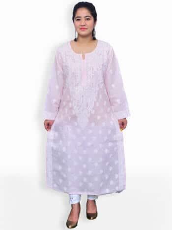 Baby Pink & White Gala Boti Lucknowi Chikankari Casual Cotton Kurti - Front
