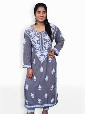 Grey & White Modal Rose Lucknowi Chikankari Party Wear Rayon Kurtii - Front