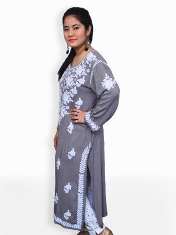 Women Grey Chikankaari Modal Rose Kurti - Side