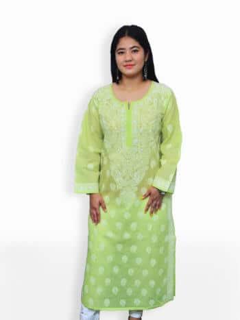 Light Green & White Gala Boti Lucknowi Chikankari Casual Cotton Kurti - Front