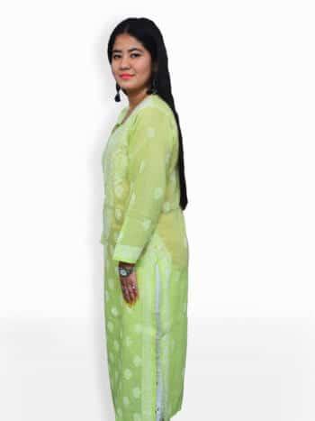 Women Light Green And White Chikankari Emboridery Cotton Kurta - Side