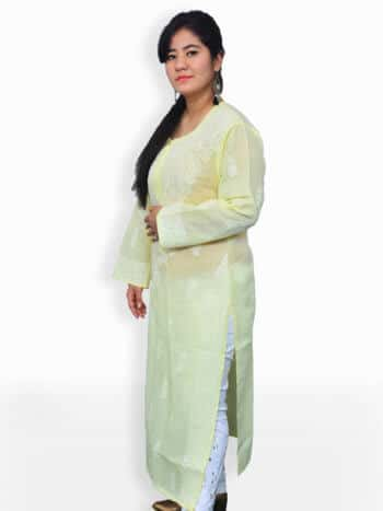Lemon Yellow & White Gala Boti Lucknowi Chikankari Casual Cotton Kurti - Side
