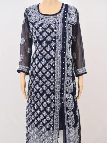 Navy Blue & White Angrakha Lucknowi Chikankari Casual Cotton Kurti - Front