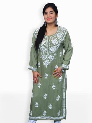 Olive Green & White Modal Rose Lucknowi Chikankari Party Wear Rayon Kurti - Front