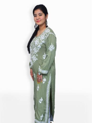 Women Olive Green Chikankaari Modal Rose Kurti - Side