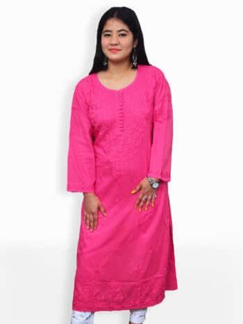 Deep Pink Rose Boti Lucknowi Chikankari Party Wear Cotton Kurti - Front