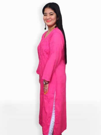 Women Pink Chikankari Rose Booti Cotton Kurta - Side