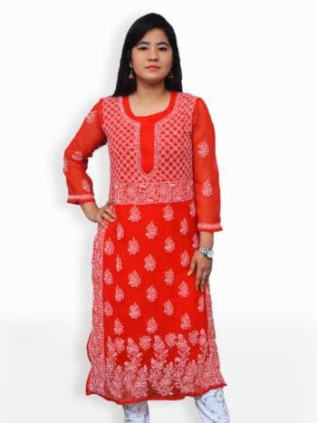 Red & White Gala Daman Lucknowi Chikankari Casual Georgette Kurti - Front