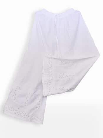 Women White Chikankari Cotton Flayered Palazzo - Lower