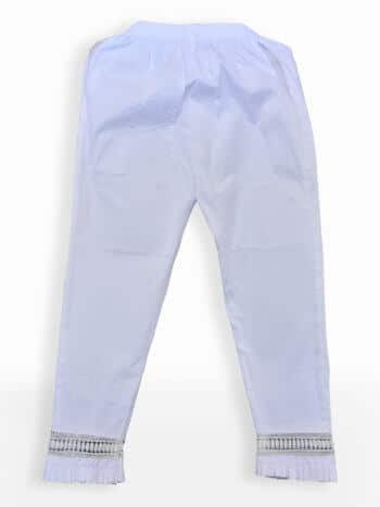 Women White Frill Stretchable Straight Pant - Back