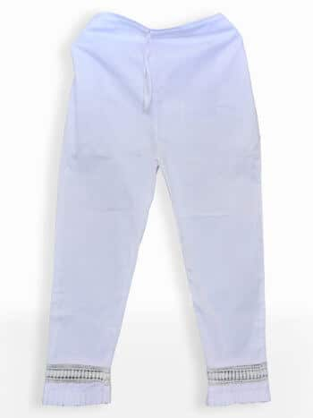 White Frill Lucknowi Chikankari Stretchable Cotton Pant - Front